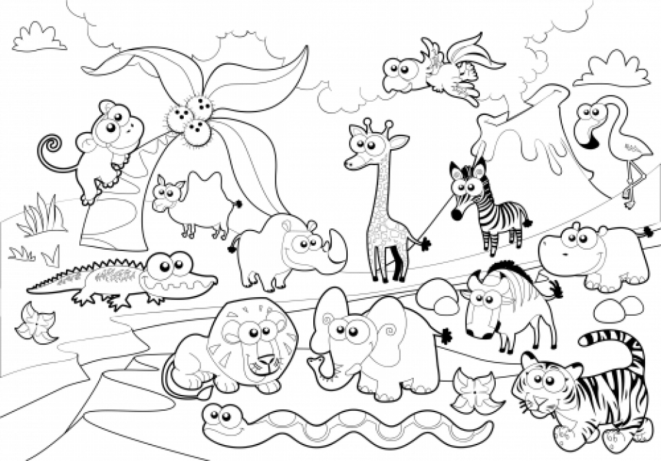 960x670 Zoo Coloring Page