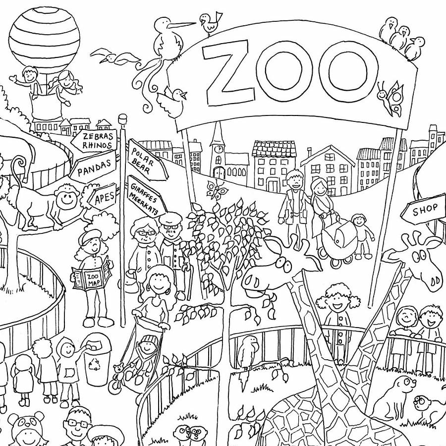 900x900 Zoo Colouring In Poster By Really Giant Posters