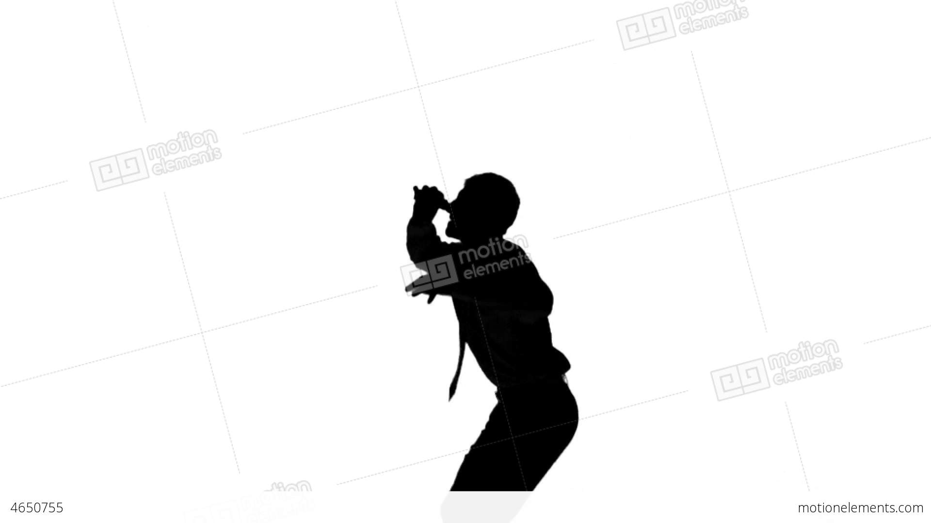1920x1080 Silhouette Of A Man Jumping On White Background Stock Video