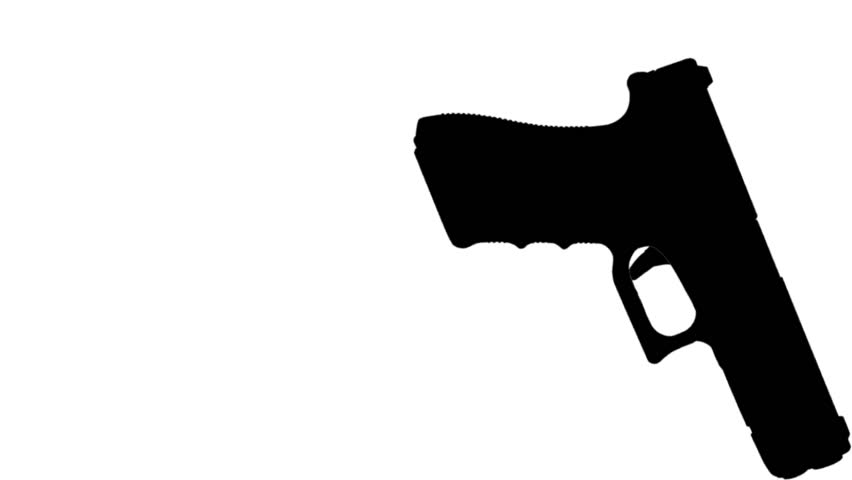 852x480 Firing Gun Animation Silhouette With Buildings Stock Footage Video