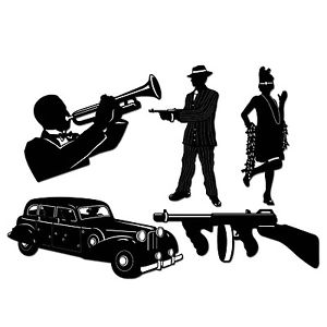 300x300 Gangster 1920's Flapper Silhouettes 5 Cutouts Party Supplies Wall