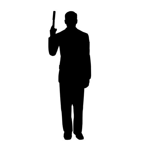 500x534 Life Size Gangster Tommy Gun Silhouette Cardboard Standup
