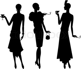 320x273 Silhouettes Of Beautiful Girl 1920s Style. Stock Vector Colourbox