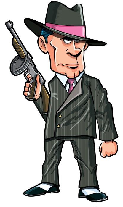 415x700 Cartoon 1920 Gangster With A Machine Gun Wall Mural We