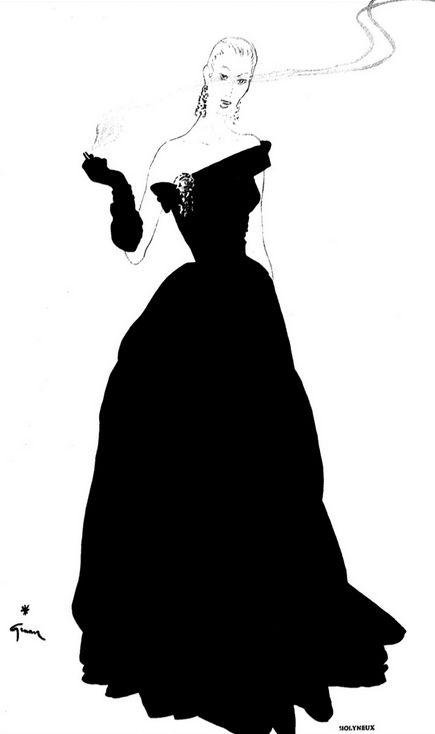 435x734 Fashion Illustration By Gruau, 1950, Molyneux, La Silhouette