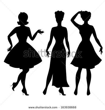 450x470 Pin Up Silhouette Silhouettes Of Beautiful Pin Up Girls 1950s