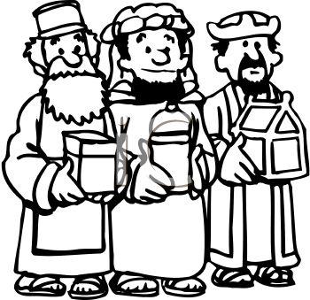350x339 Cartoon Of The Three Wise Men Bearing Gifts
