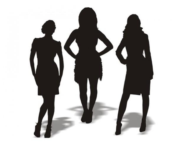 600x510 3 Businesswomen Silhouettes Vector Graphics