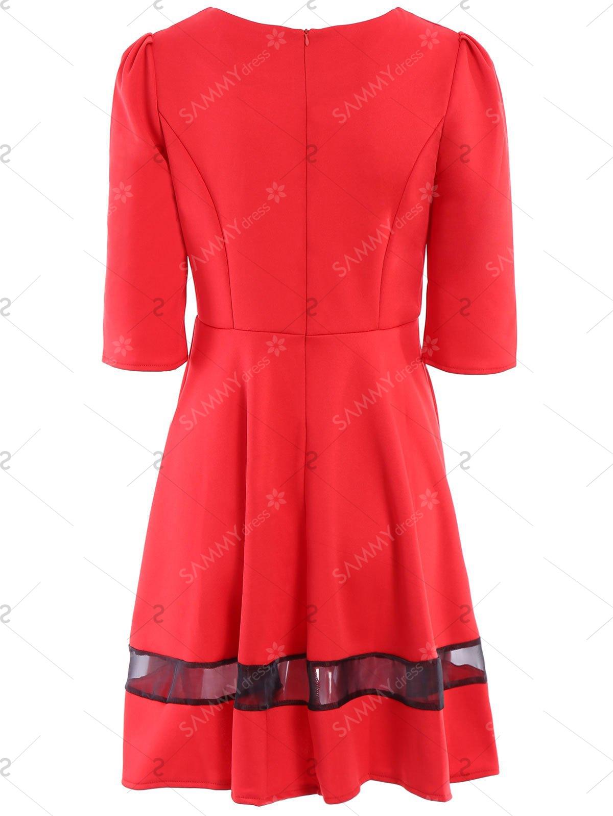 1200x1596 Stylish Round Collar 34 Sleeve Spliced Dress For Women
