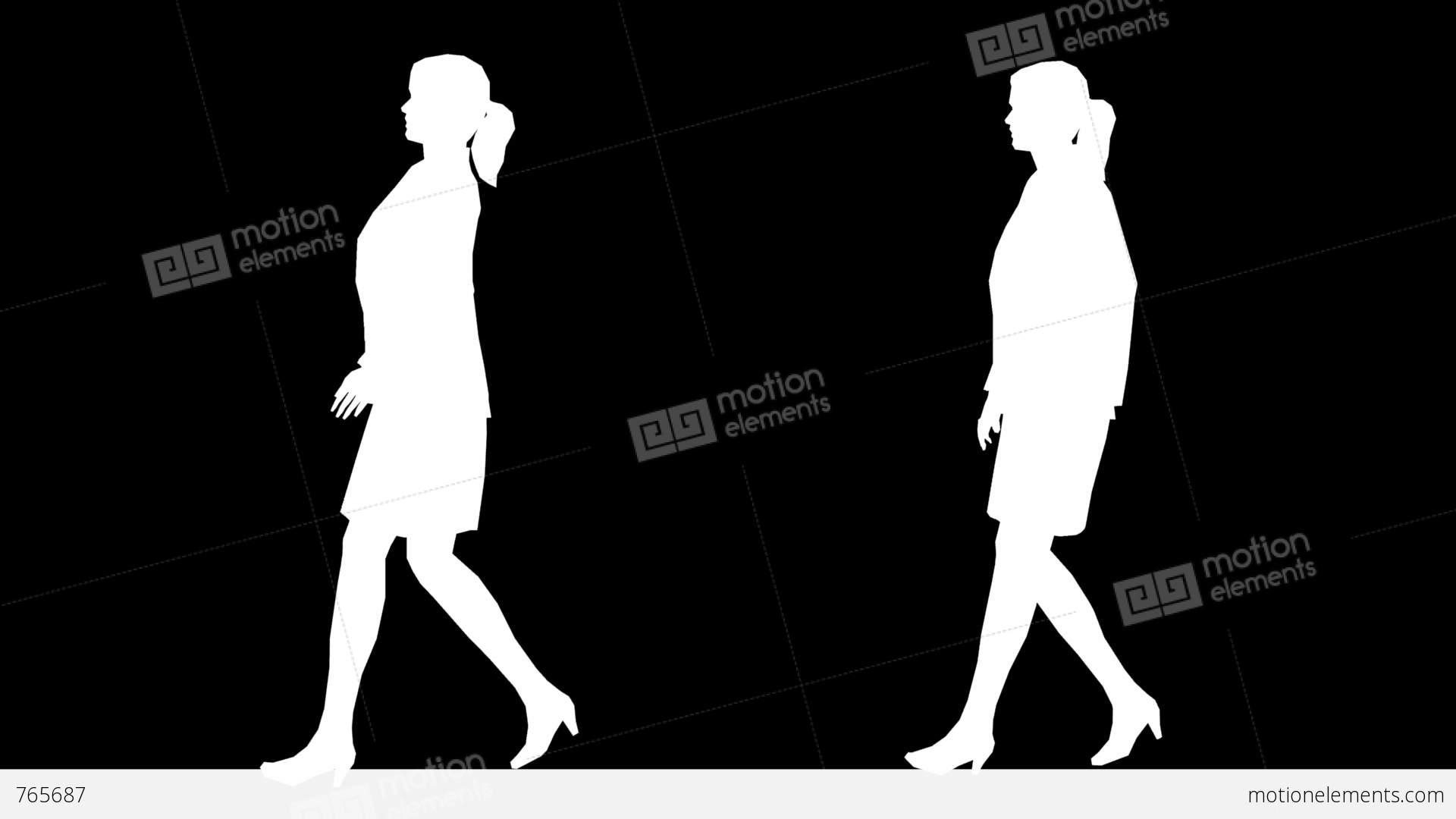 1920x1080 Women Walking Silhouette 01 Stock Animation 765687