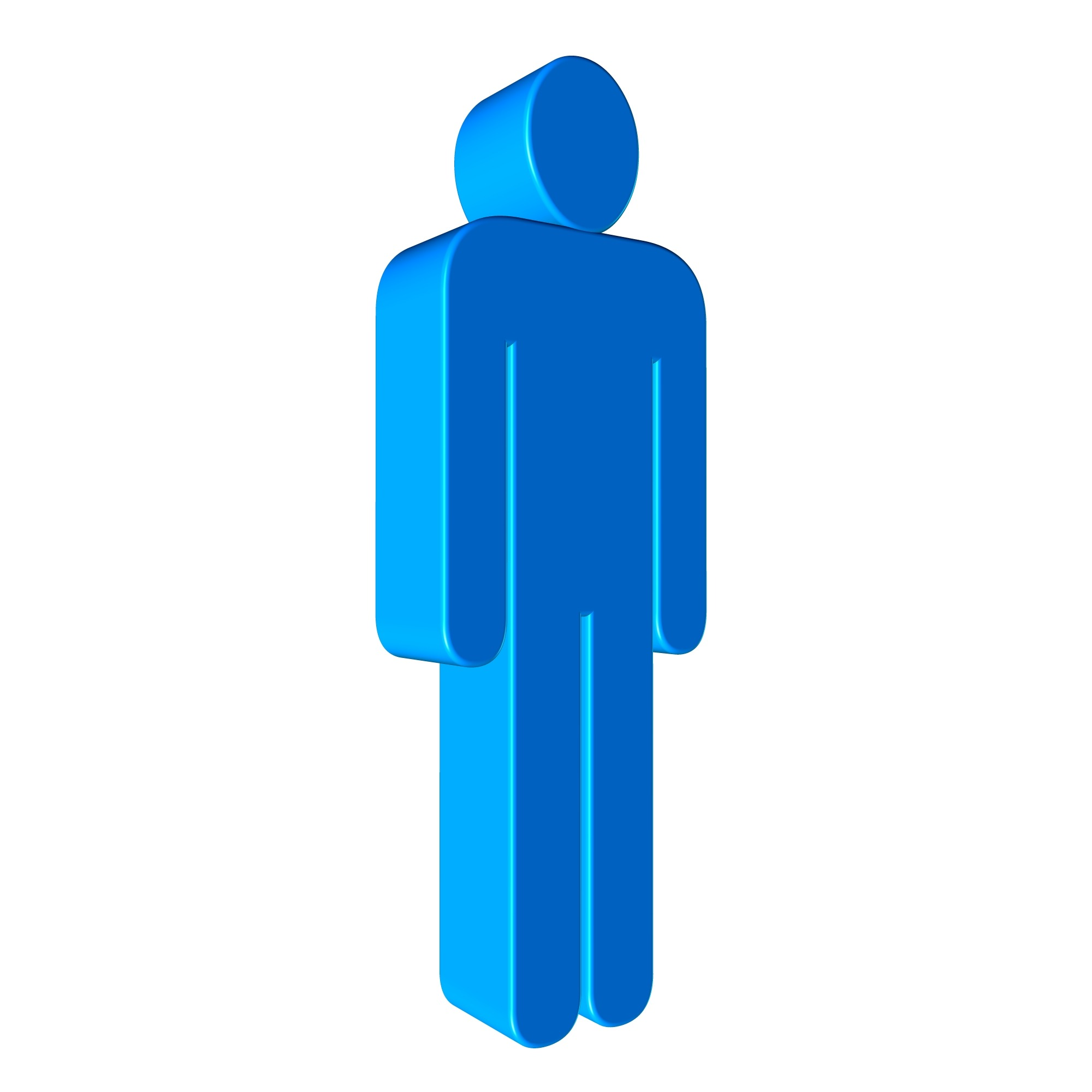 2000x2000 Blue 3d Male Silhouette Free Image