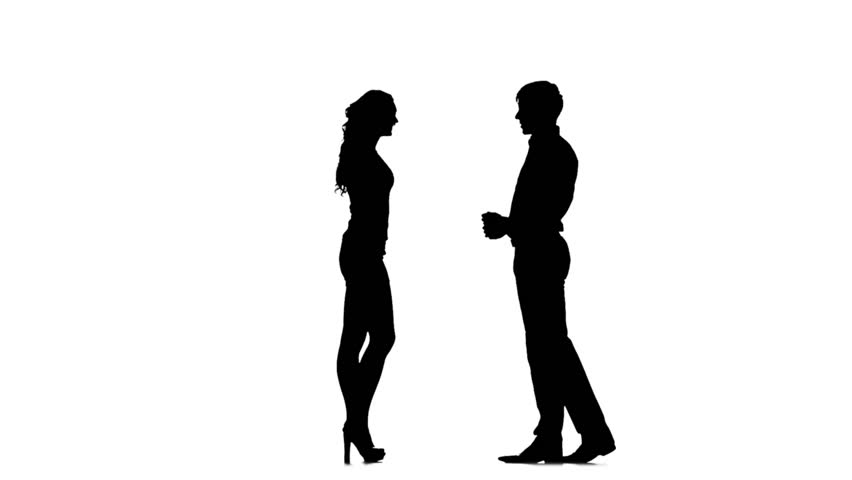 852x480 Casual People Silhouettes Talking. 4 In 1. Couples. More Options