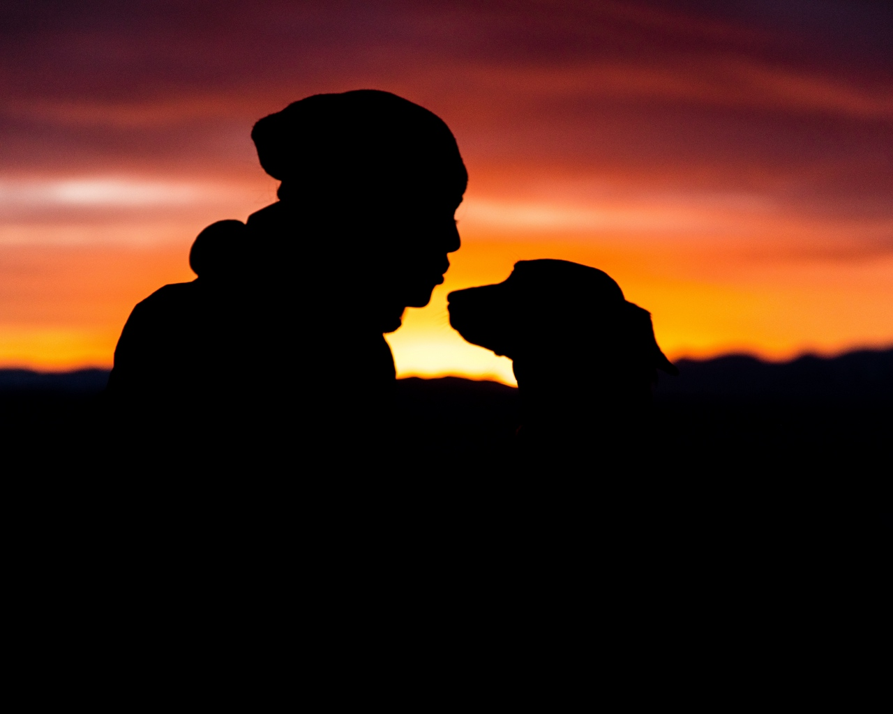 1280x1024 Download Wallpaper 1280x1024 Silhouettes, Person, Dog Standard 54