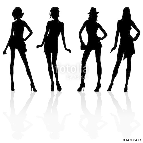 500x500 Four Girls Silhouette Stock Photo And Royalty Free Images
