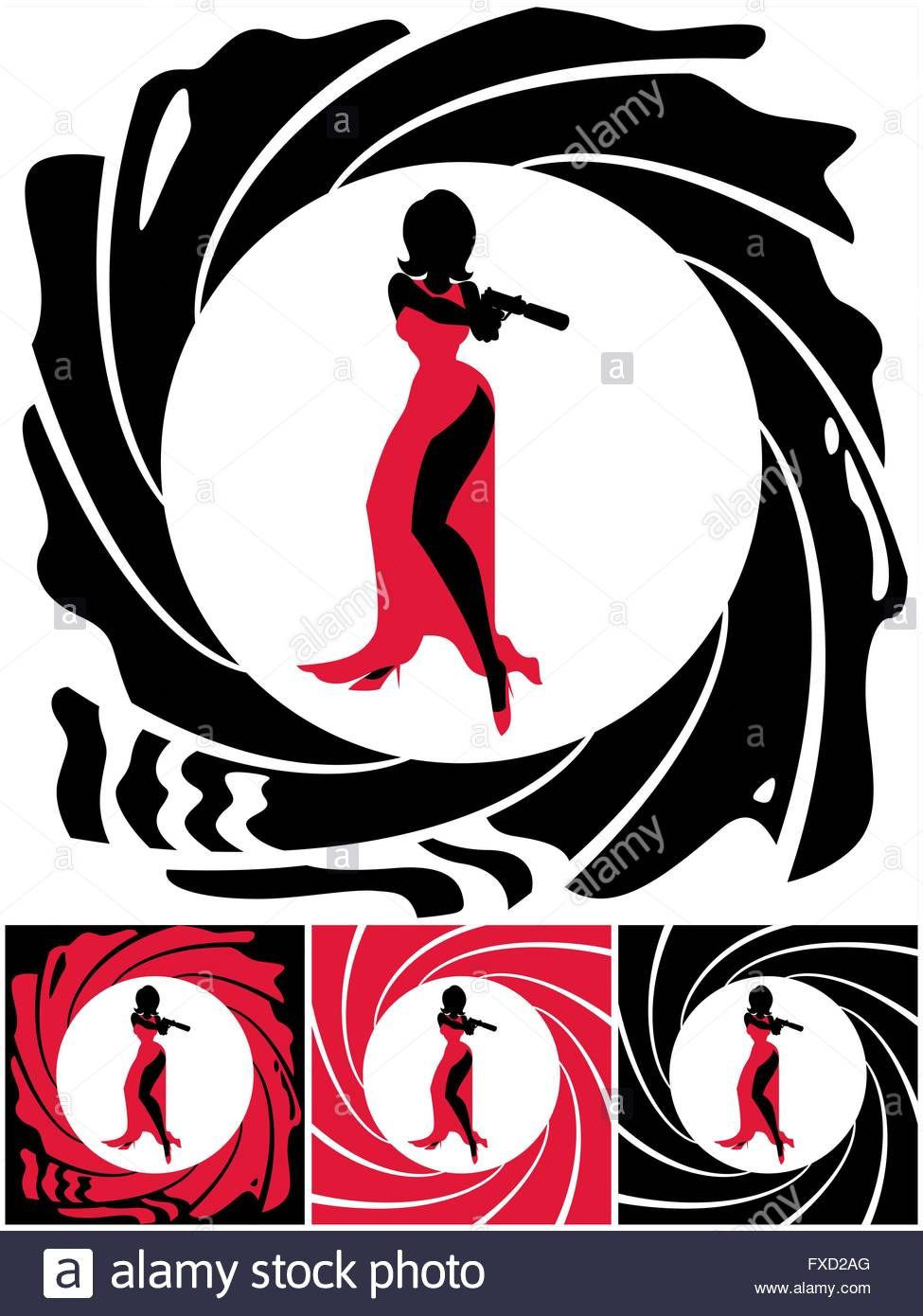 975x1390 Silhouette Of Female Secret Agent. Illustration Is In 4 Versions