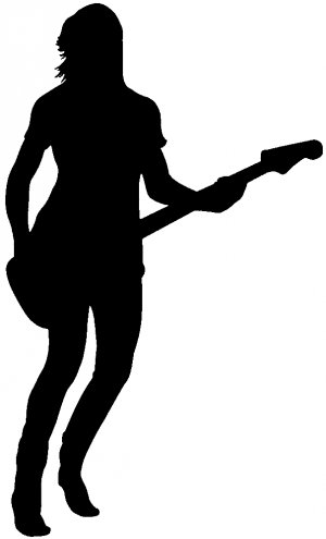 300x495 Guitar Player Silhouette Decal Car Or Truck Window Decal Sticker