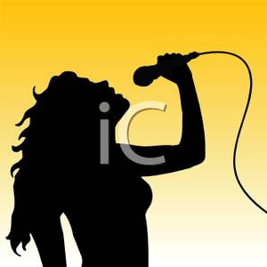 300x300 Silhouette Of A Woman Singing Into A Microphone Clipart Image