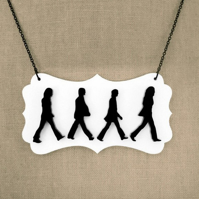 640x640 Laser Cut Acrylic Abbey Road Pendant Necklace In Pendant Necklaces