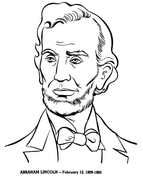 600x734 Abraham Lincoln, A Head Figure Of Abraham Lincoln Coloring Page