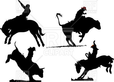 400x286 Silhouettes Of Rodeo On Horses And Bulls Royalty Free Vector Clip