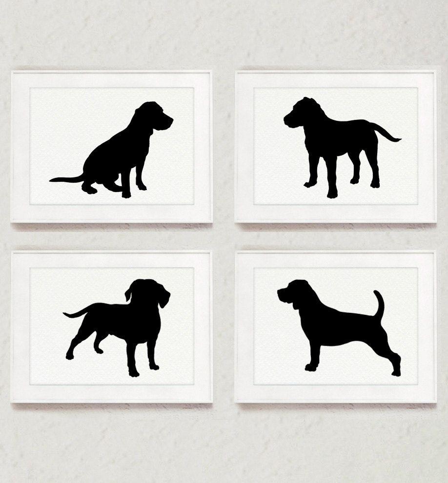 918x991 Beagle Set Of 4, Dog Drawing, Abstract Animal Ink Painting, Dog