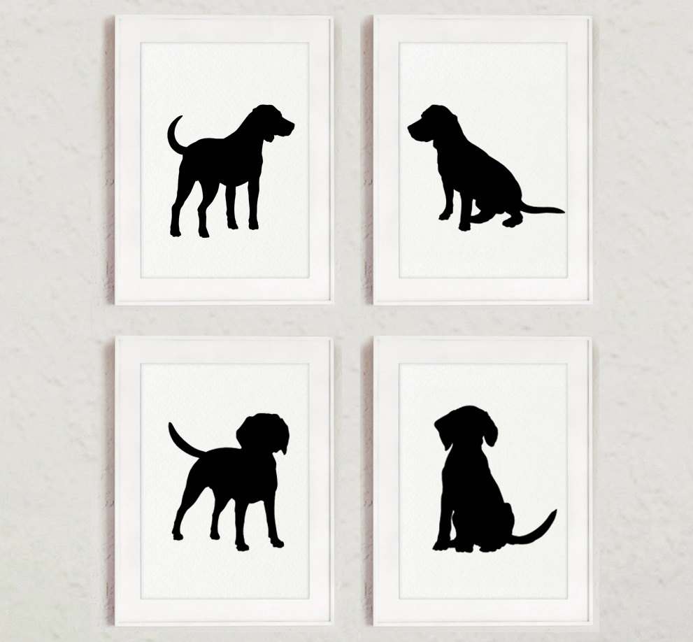 991x918 Black Dog Silhouette Set Of 4 Beagle Drawing Abstract Dogs
