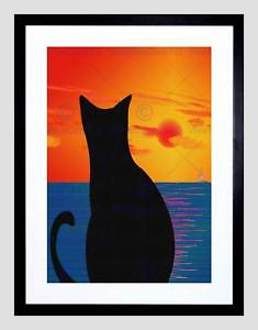 235x300 Cat Landscape Abstract Silhouette Sunset Sea Boat Framed Art Print