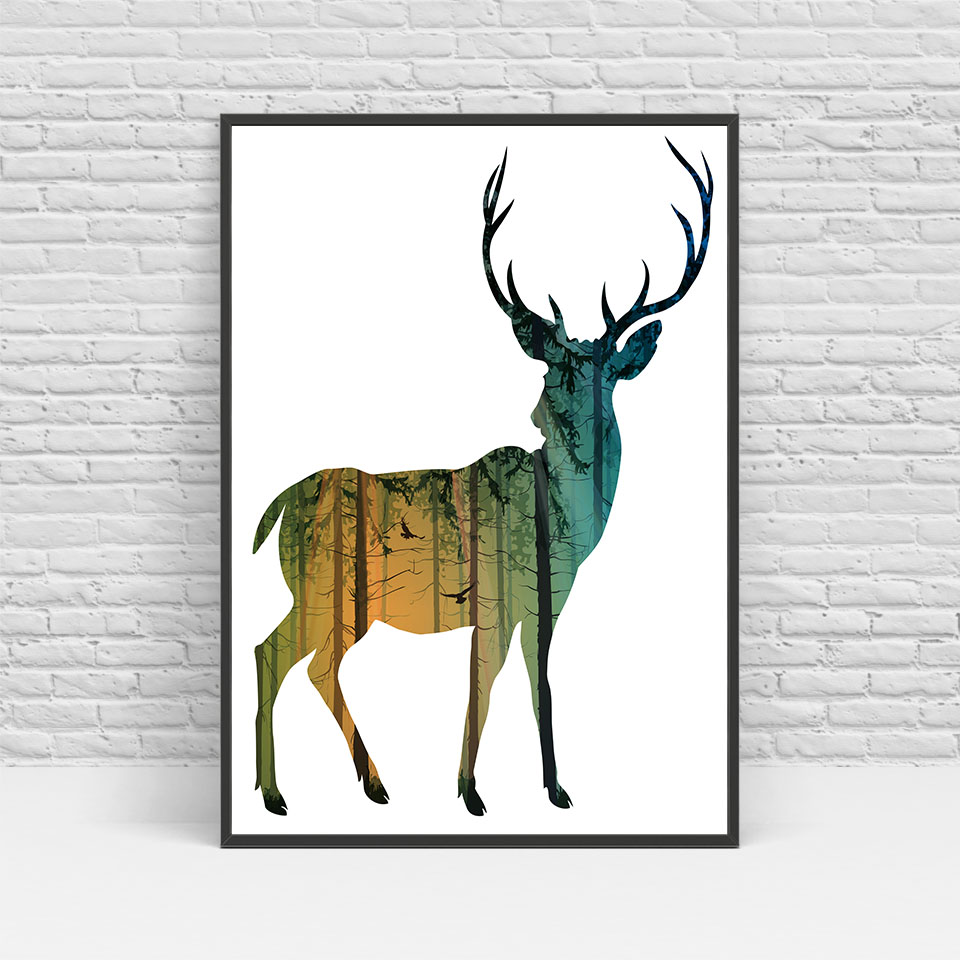 960x960 Nordic Poster Print Canvas Abstract Silhouette Deer Family Tree