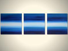 236x177 Original Large Triptych Mountain Range Silhouette Landscape