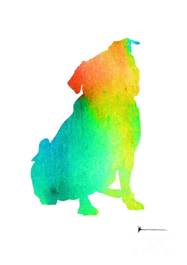 636x900 Pug Dog Silhouette Abstract Art Print Watercolor Painting Painting