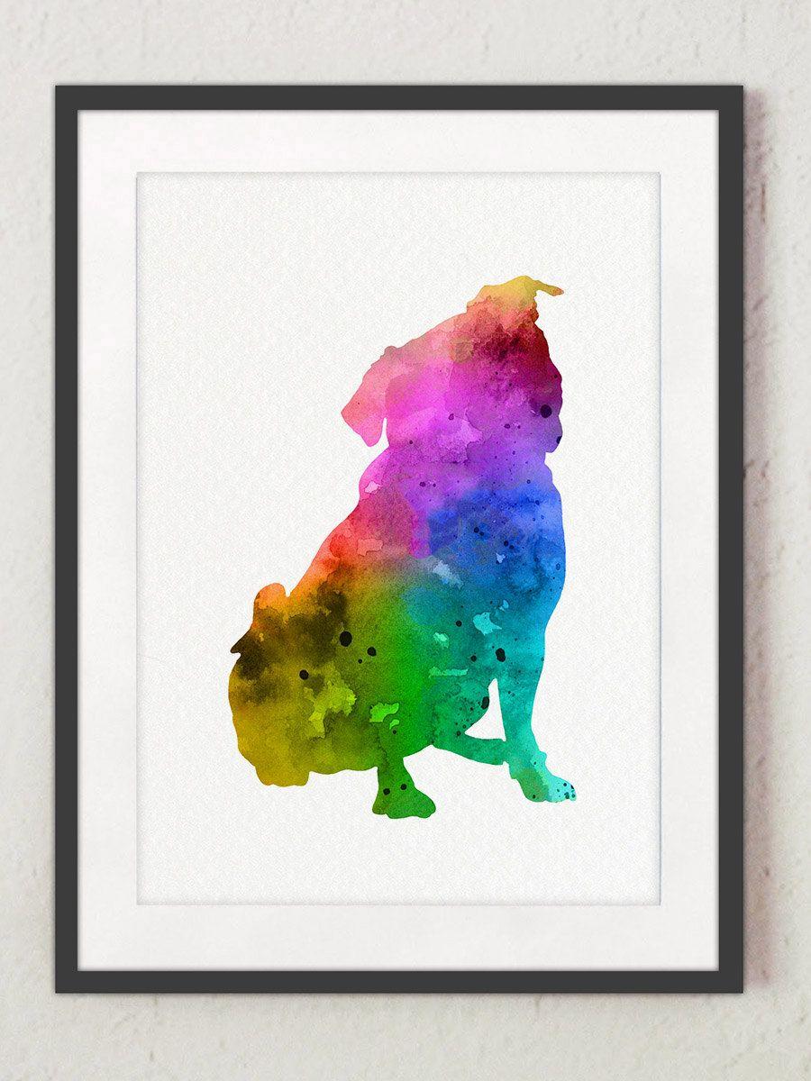900x1200 Rainbow Pug Dog Nursery Art Print, Abstract Silhouette, Colorful