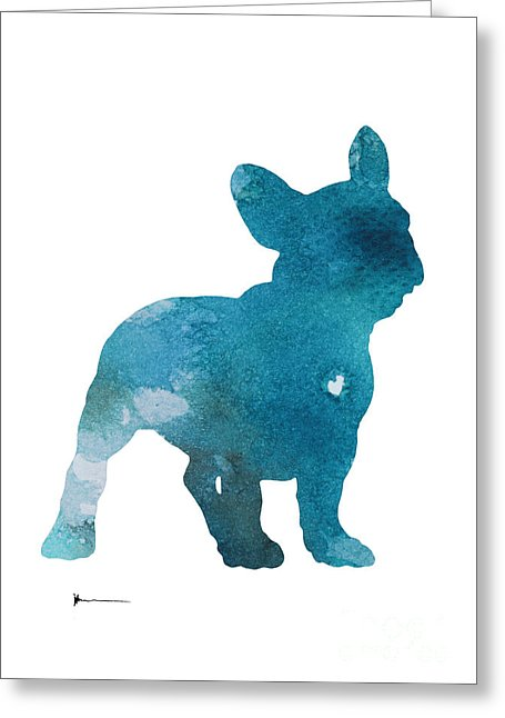 455x646 Abstract French Bulldog Silhouette Watercolor Art Print Painting