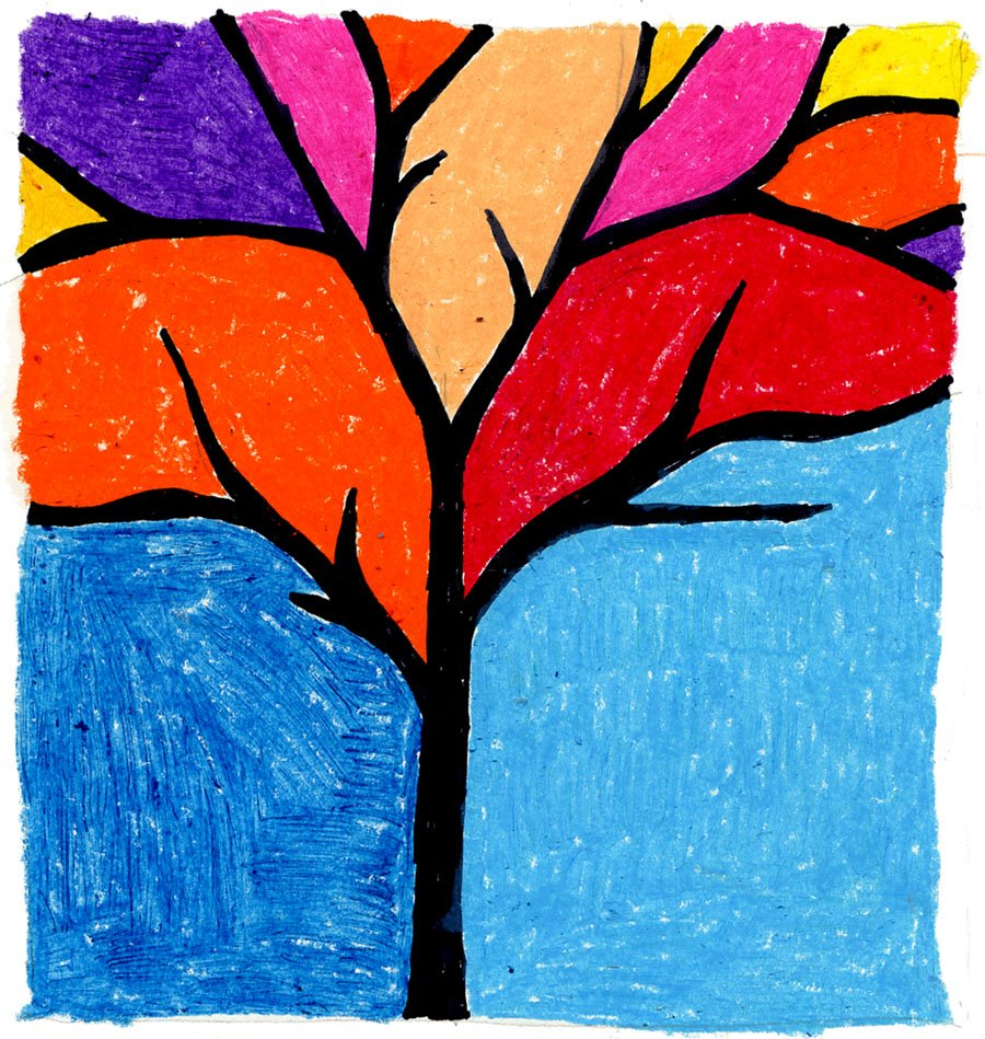 900x949 Abstract Tree Silhouette In Oil Pastel