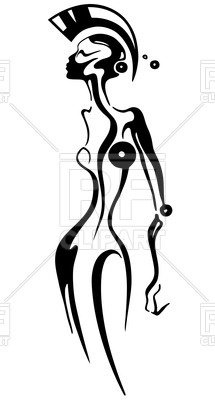 215x400 Abstract Android Woman Royalty Free Vector Clip Art Image