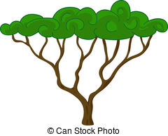240x194 Acacia Tree Isolated. Vector Illustration Clipart Vector