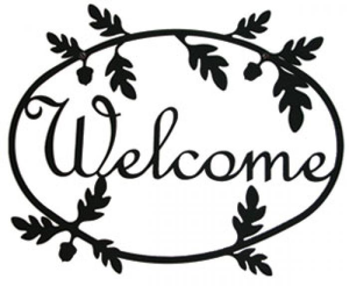 700x574 Village Wrought Iron Welcome Sign, Wrought Iron Sign