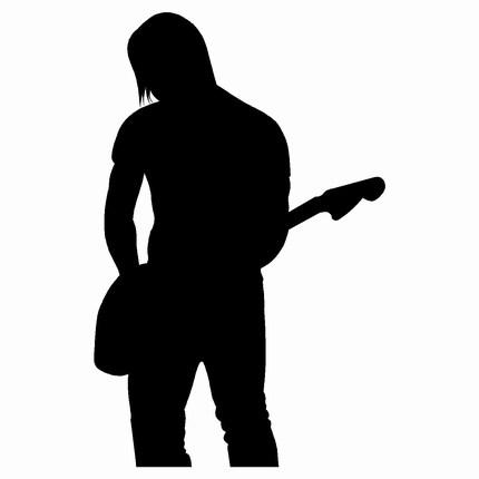 430x430 Guitar Silhouettes, Black And White Electric + Acoustic Guitars