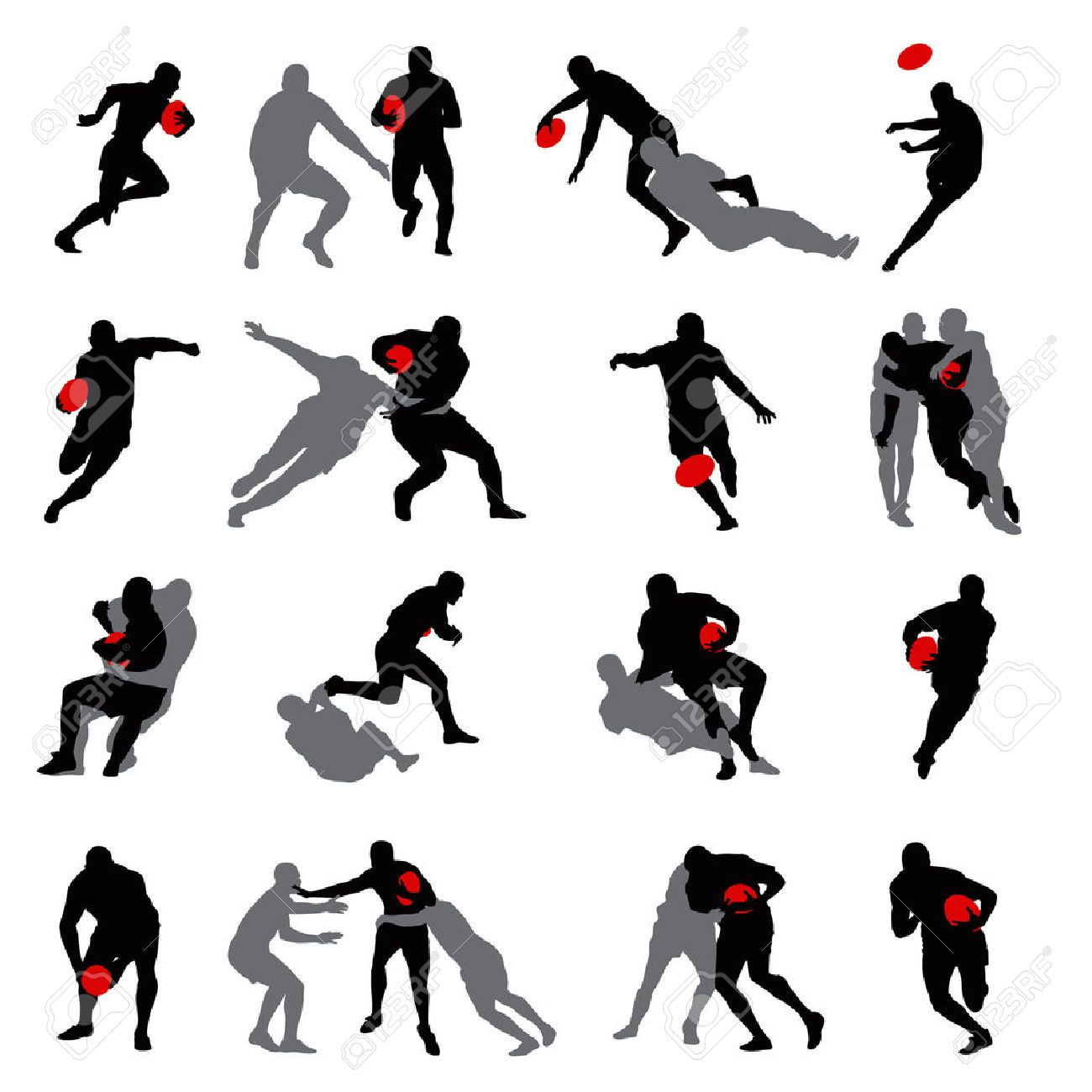 1300x1300 6254248 Rugby Action Group Poses Silhouette 02 Stock Vector Player