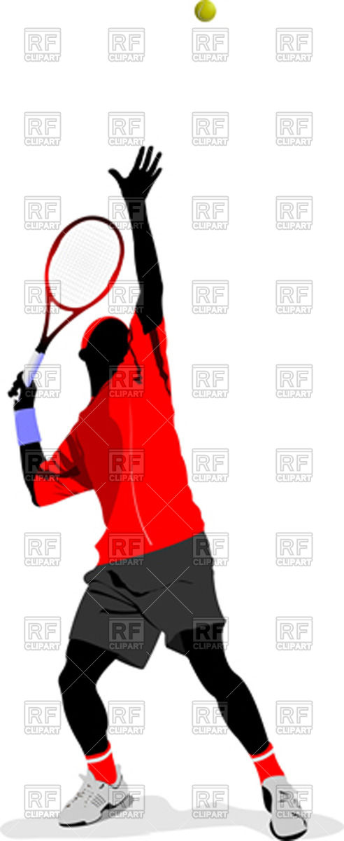 492x1200 Silhouette Of Tennis Player In Action Royalty Free Vector Clip Art