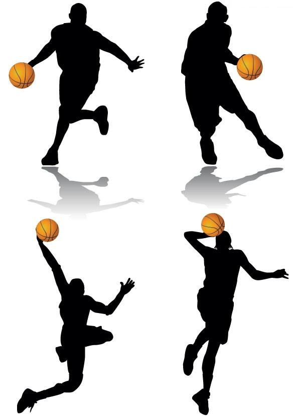 600x828 A Group Of Classic Basketball Action Silhouette Vector Material