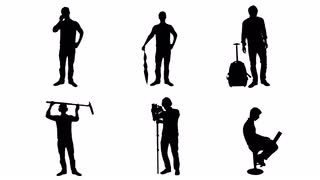 320x180 Silhouette People Different Actions
