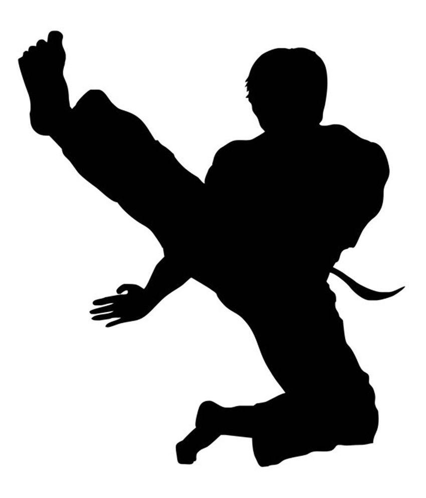 850x995 Studio Briana Black Karate Action Silhouette Wall Decal Wall