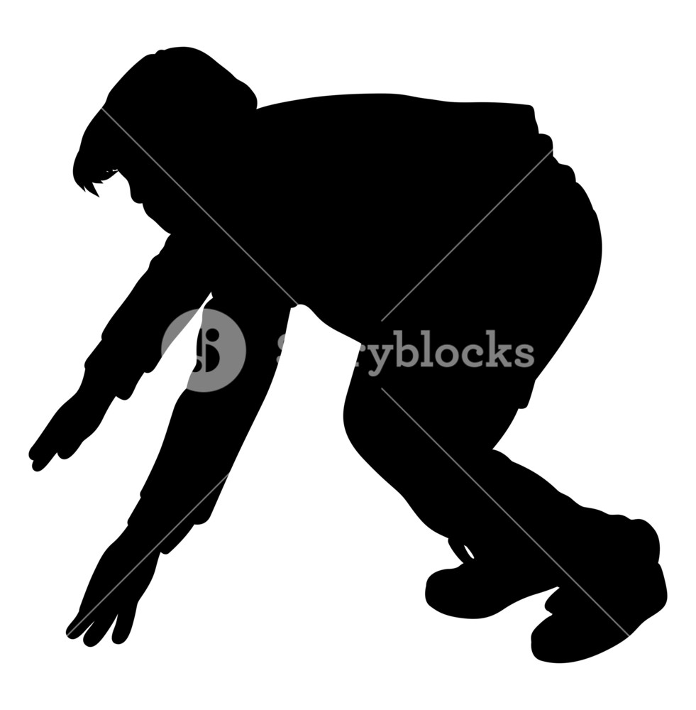 981x1000 Young Boy In Action Silhouette Royalty Free Stock Image