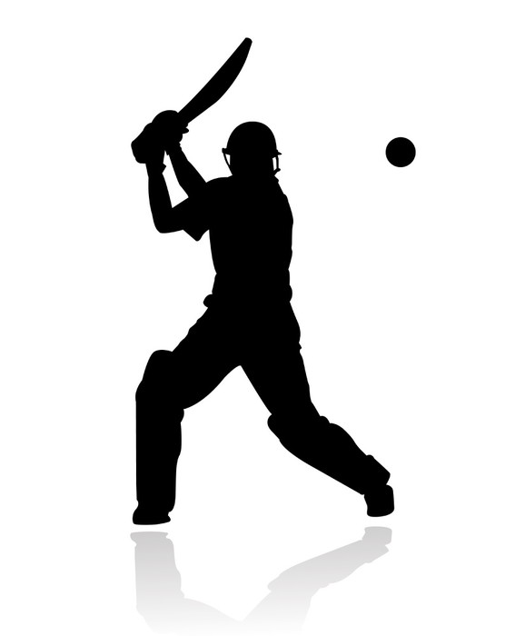578x700 Cricket Player In Action Silhouette Wall Mural We Live
