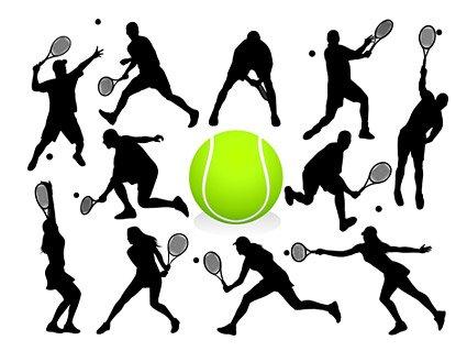 425x319 Action Figures Tennis Silhouette, Vector Graphics