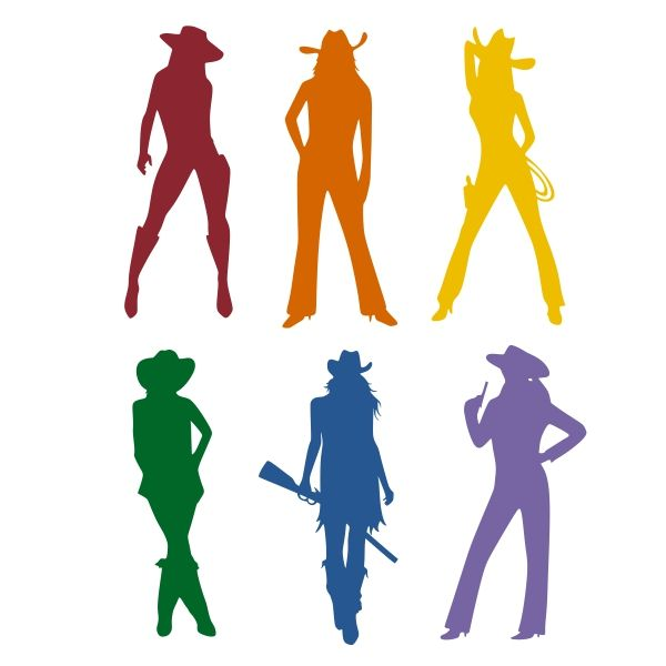 600x600 Cowgirl Silhouette Cuttable Design Cut File. Vector, Clipart
