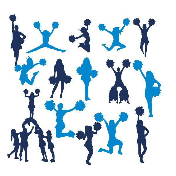 600x600 Cheerleader Silhouette Pack Cuttable Design Cut File. Vector