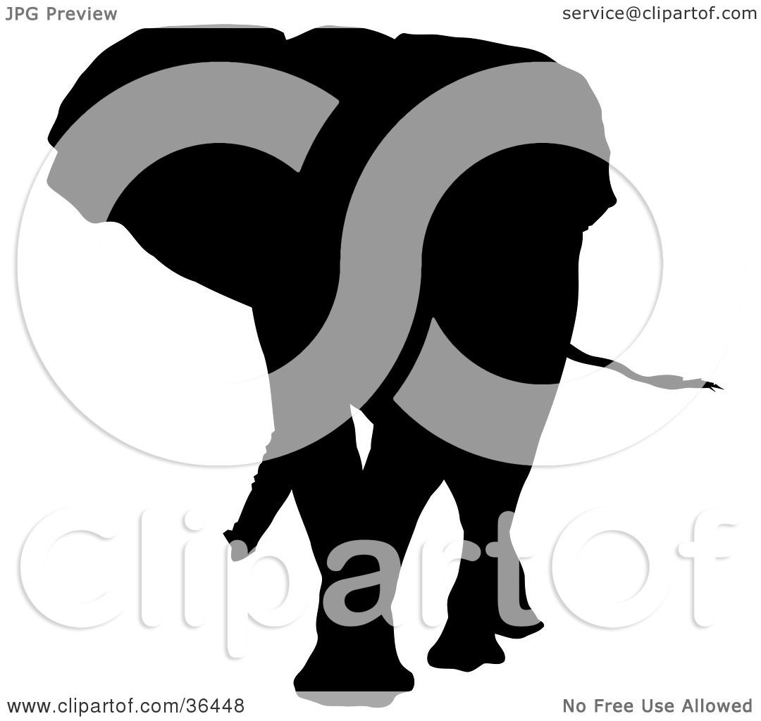 1080x1024 Clipart Illustration Of A Black Silhouetted Adult Elephant Walking