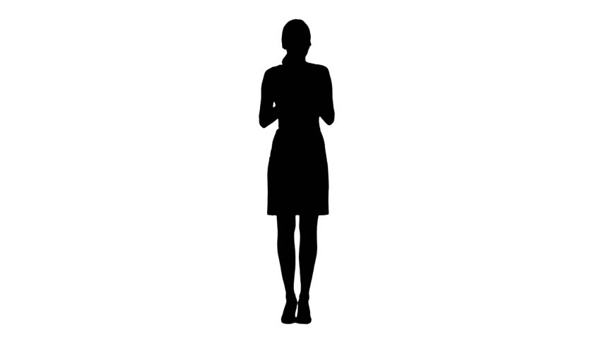 852x480 Silhouette Young Adult Woman Applying Lipstick Herself Stock
