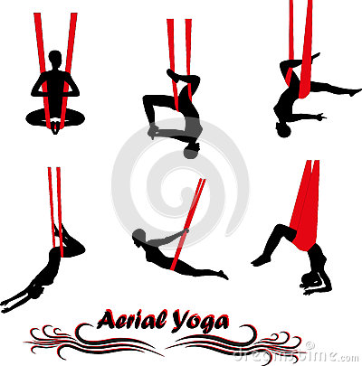 400x405 Yoga Aerial Silhouette Aerial Yoga. Anti Gravity Yoga. Woman